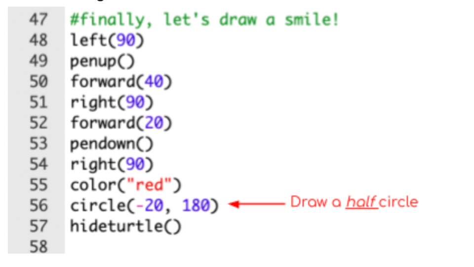 Draw the smile for this Python kids' tutorial