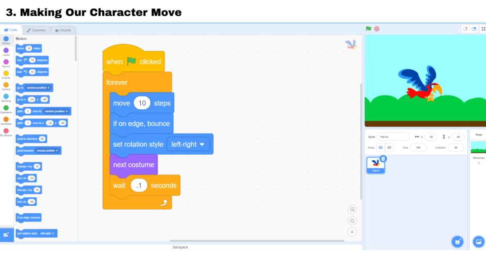 Make your Scratch character move for this kids' project