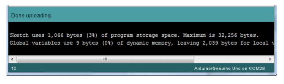 Done uploading screen for Arduino