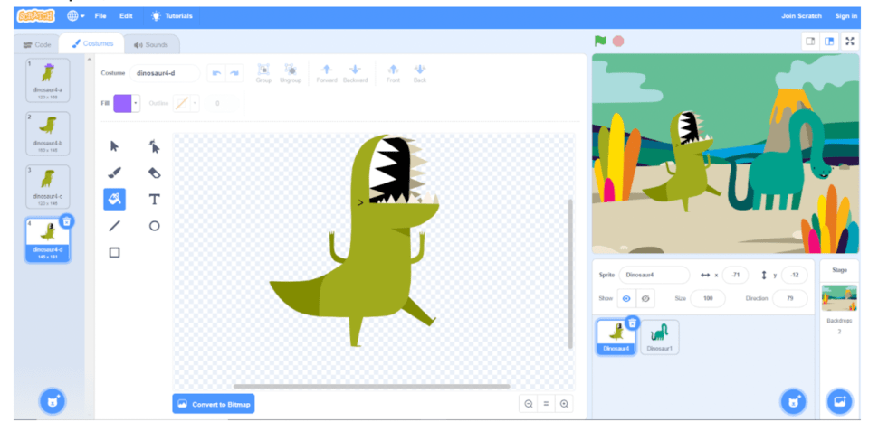 Change your dinosaur in Scratch coding for kids