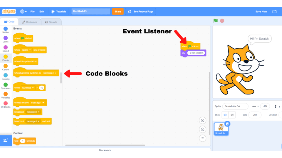Scratch coding concepts and skills