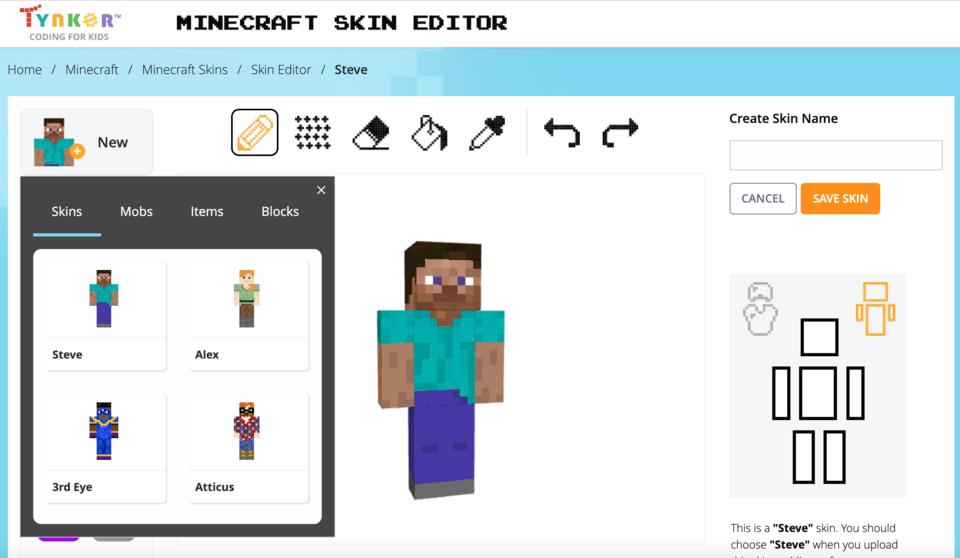Tynker's Minecraft Skin Editor